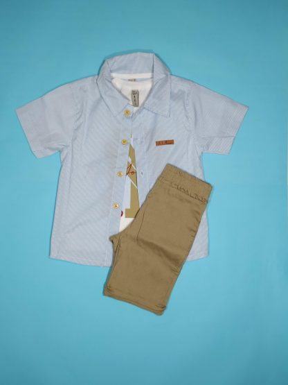 Conj. 3 peças camisa em tricoline, camiseta em malha confort e bermuda em bengaline light - azul claro/ branco/bege