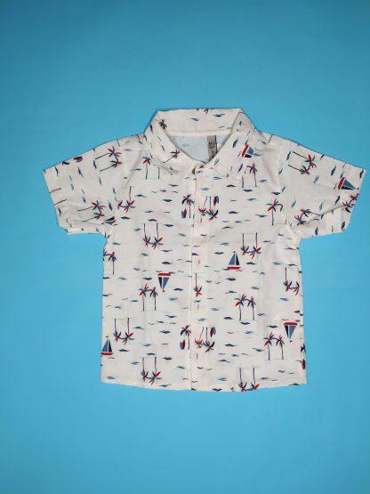 Conjunto 3 peças camisa em tricoline, camiseta em malha confort e bermuda em eco linen-off/ marfim /marinho