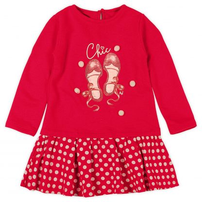 Vestido Manga Longa Moletom Poa Menina - Vermelho - 8