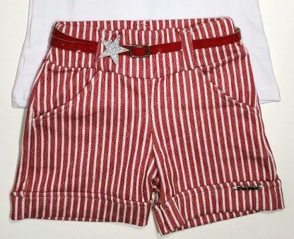 Conjunto Blusa e Shorts - Branco/Vermelho