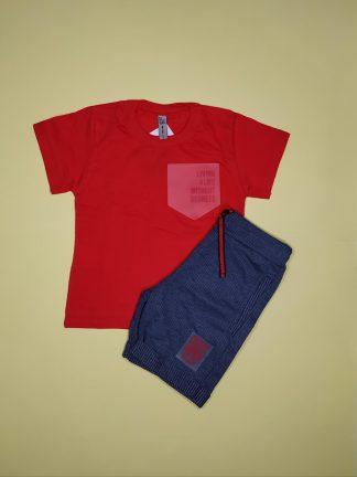 Conjunto camiseta em malha confort e bermuda em moletinho taylor - vermelho/marinho