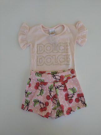 Conjunto Blusa e Shorts Cereja -Rosa