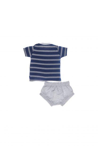 Conjunto curto camiseta e shorts tapa fralda - azul listrado/mescla