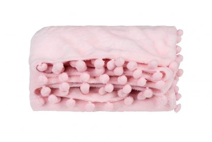 Manta Soft Microfibra Pompons Feminina - Rosa