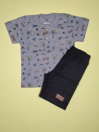 Conjunto Camisa e Bermuda - Mescla/Preto
