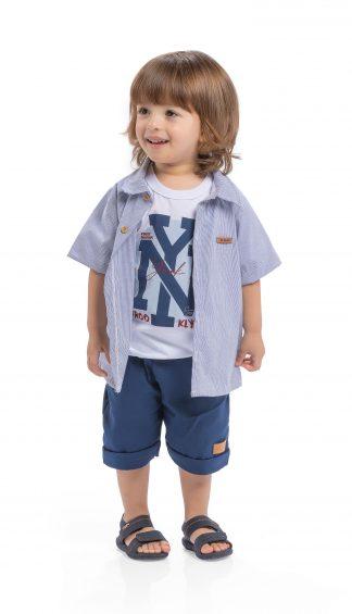 Conj. 3 peças camisa em tricoline, camiseta em malha confort e bermuda em bengaline light - marinho/branco/marinho
