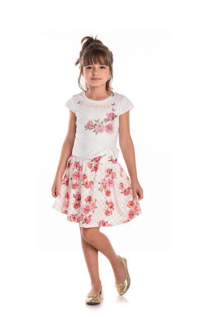 Conjunto Infantil Cropped e Saia com Short - Rosa - 12