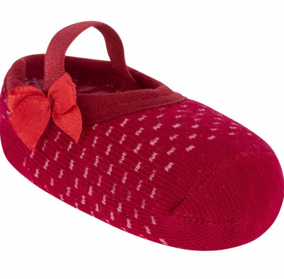 Meia Sapatilha Colorida Poa - Vermelho