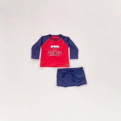 Conjunto Praia, Camiseta manga longa e sunga UV50 - Vermelho e Marinho