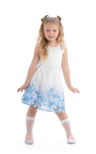 Vestido em Renda Inglesa Menina - AzulCastanho Claro - 10