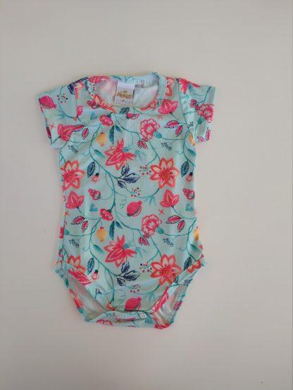 Conjunto Body Floral lotus e Shorts - Verde/Pink