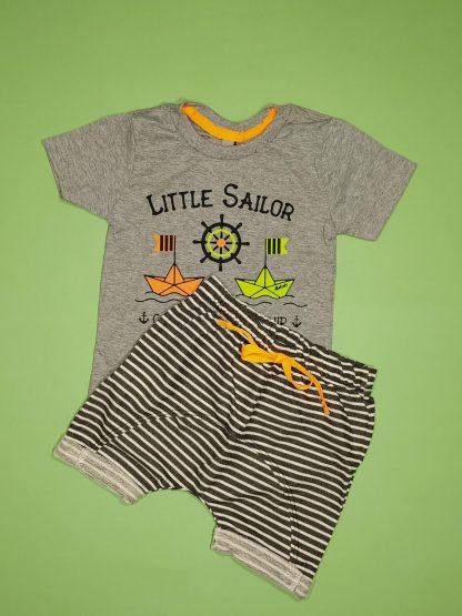 Conjunto camiseta em malha botonê neon e bermuda em moletinho jeans - mescla/ preto