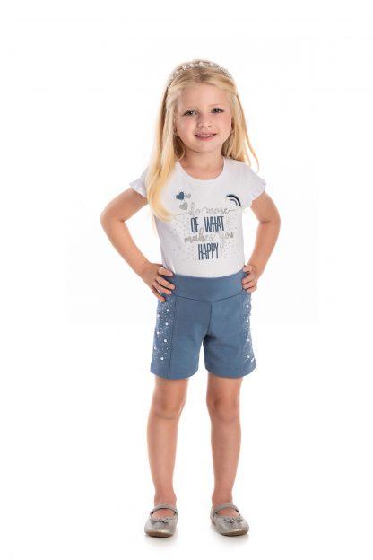 Conjunto Blusa e Shorts  - Branca/Azul