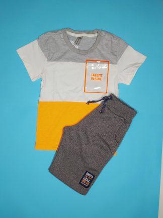 Conjunto Camiseta e Bermuda Neon - Mescla/Laranja Neon