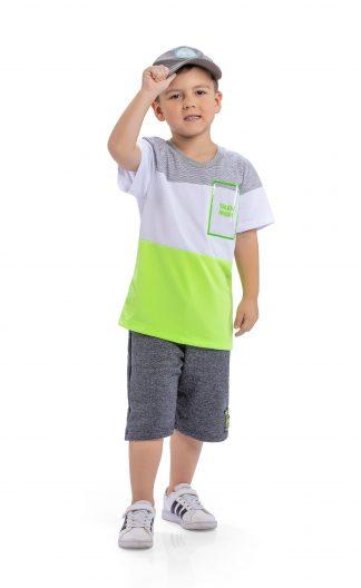 Conjunto Camiseta e Bermuda Neon - Mescla/Verde Neon