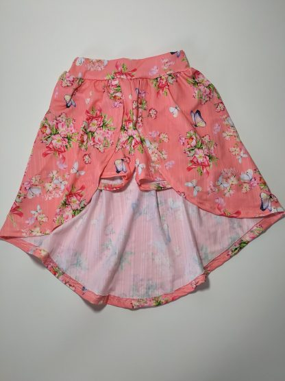 Conjunto Cropped e Shorts-Saia em Relive Estampado - Coral