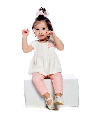 Conjunto longo, Blusa e calça - Branco/Rosa - BRRS - GG