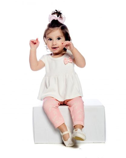 Conjunto longo, Blusa e calça - Branco/Rosa