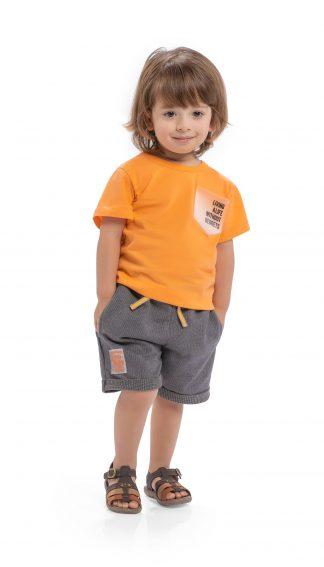 Conjunto camiseta em malha confort e bermuda em moletinho taylor - tangerina/chumbo