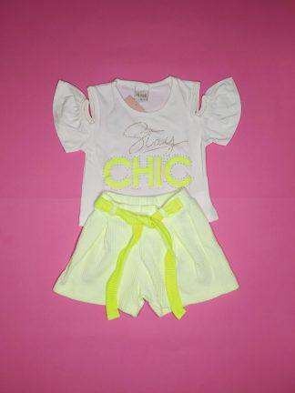 Conjunto blusa e shorts chic - marfim/amarelo neon