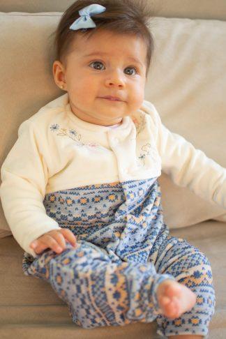 Macação Longo Feminino em Plush Trico Esquilo - Azul