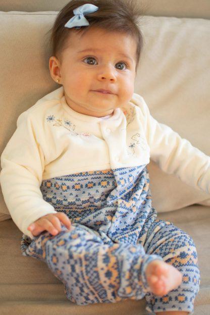 Macação Longo Feminino em Plush Trico Esquilo - Azul - G
