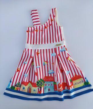 Vestido em jacquard Listrado Casas - Vermelho