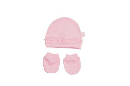 Kit Gorro e Luva de Suedine Bebê - Rosa - P