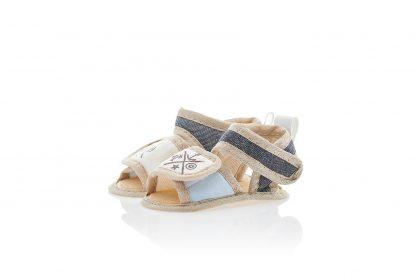 Sandalia com fechamento em velcro - Azul com marrom