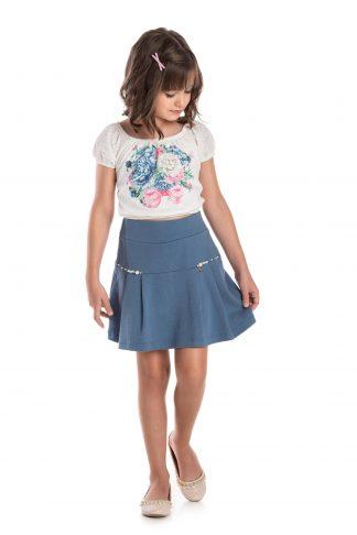 Conjunto ciganinha em bordalin light e saia em suedine e shorts em meia malha branco e azul