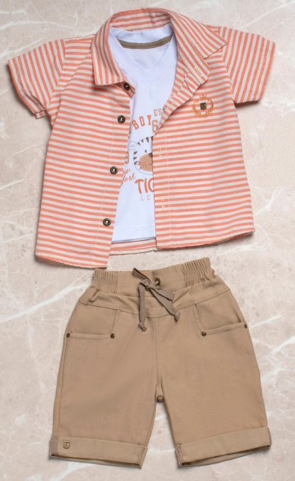 Conjunto Estiloso Camisa listrada, Camiseta e Bermuda Menino - Laranja - 3