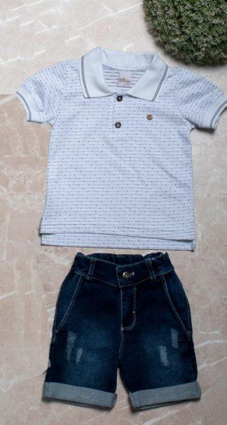 Conjunto Camisa Gola Polo e Bermuda Jeans Menino - Branco - 8