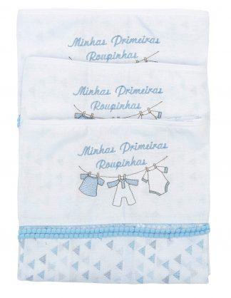 Kit Saquinho Maternidade 3 peças Masculino - Azul