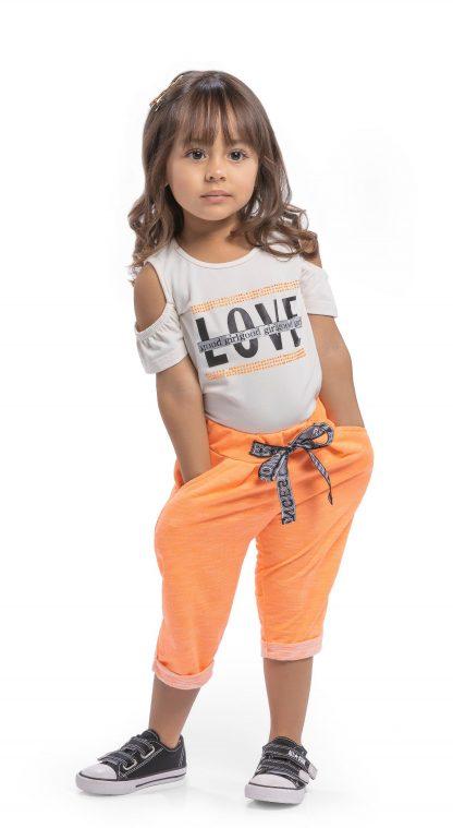 Conjunto blusa em cotton premium e capri em moletinho neon - marfim/ laranja neon - LR - 3