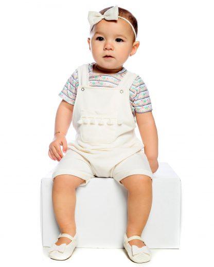 Jardineira com Body Bebê - Branco - GG