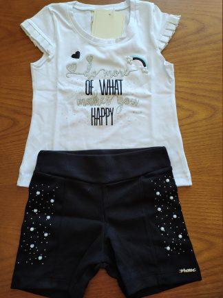 Conjunto Blusa e Shorts - Branca/Preta