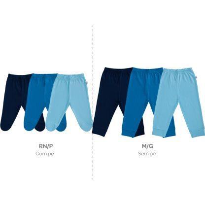 Calça Culote Bebê Kit com 3 peças - Azul - G