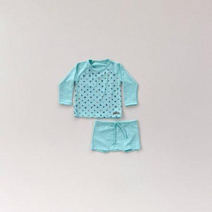 Conjunto praia triangulos com camiseta manga longa e sunga UV50 - Azul