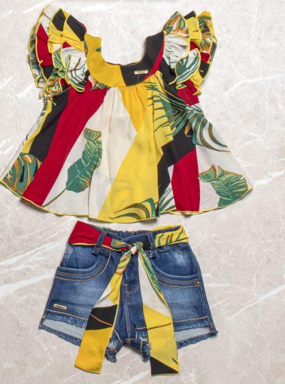 Conjunto Monaliza Blusa e Shorts Jeans - Vermelho - 8