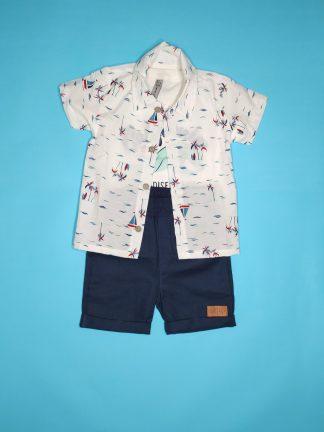 Conj. 3 peças camisa em tricoline, camiseta em malha confort e bermuda em bengaline light- off/marfim/marinho