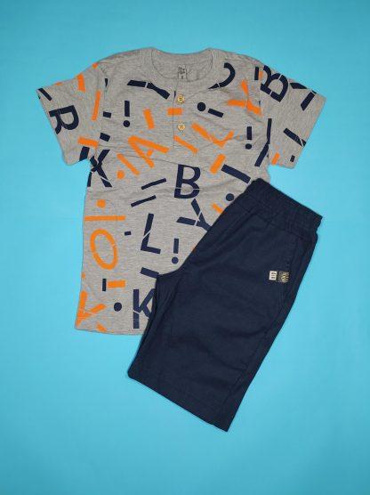 Conjunto Camisa e Bermuda Letras - Mescla/Marinho