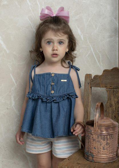 Conjunto Estiloso Donatela, Blusa Jeans e Shorts Menina - Azul-marinho - 8