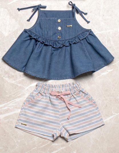 Conjunto Estiloso Donatela, Blusa Jeans e Shorts Menina