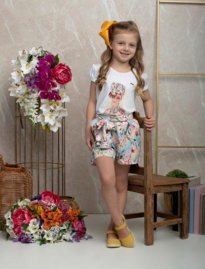 Conjunto Blusa e Shorts Menina - Branco - 8
