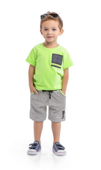 Conj. camiseta em malha neon e bermuda em tricot listrado - verde neon/preto