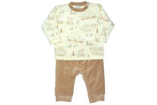 Conjunto Plush Blusão e Calça Urso Polar - Marrom
