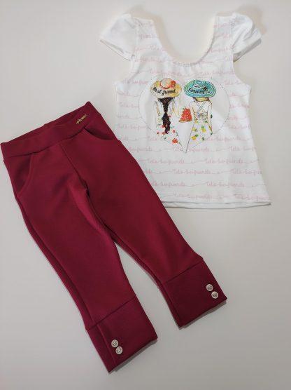 Conjunto Blusa e Legging Corsário– Branco/Vermelho