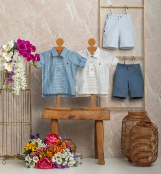Conjunto Estiloso Camisa e Bermuda Menino - Azul - 8
