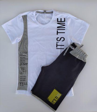 Conjunto Camiseta em malha confort e Bermuda em Moletinho - Branco/Mescla/Preto