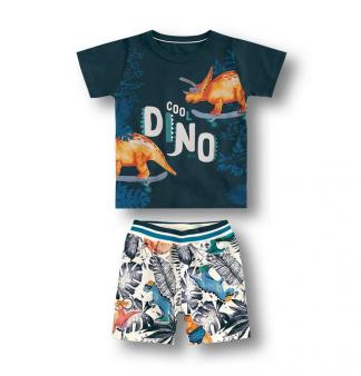 Conjunto Camiseta e Bermuda Dino Menino